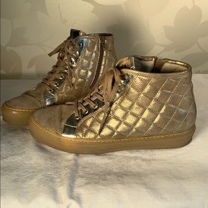 Attilio Giusti Leombruni Gold Hightop Sneakers